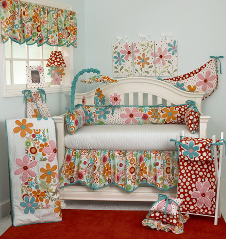 """The """"Lizzie"""" crib bedding sets collection is a wonderful pattern it shows a mixture of beautiful vibrant colors and a spresd of polka dot and colorful daisies. This unique pattern is perfect for any baby nursery! for a happy environment!"""