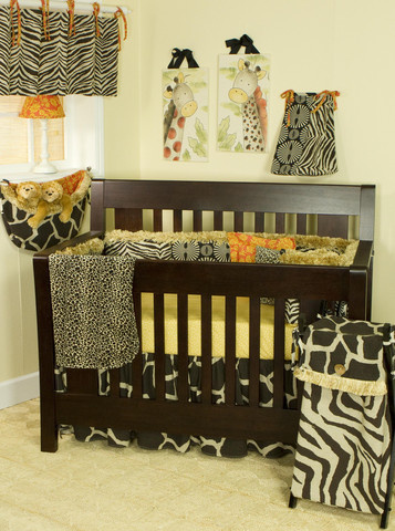 "The ""Sumba"" crib bedding sets are a mixture of fun animal prints and African art, making the baby nursery feel like in the middle of a beautiful safari! Your baby will experience the wonders of wild animals like the tiger, giraffe, cheetah, and zebra without ever venturing beyond the baby nursery that you've made for it to grown and learn."