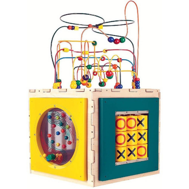 The ultimate activity play center, featuring 5 fun and stimulating toys in one!  Each panel offers a new and exciting game, including: Tic Tac Toe, Flipper Game, Traffic Memory Game, Fun Paddle Wheel, and a Rollercoaster Bead Maze on top. It promotes interactive play, visual tracking, hand-eye coordination and logical thinking skills.