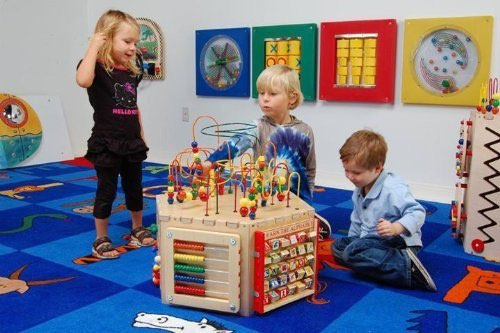 Educational games included in this activity cube are the pathfinder, alphabet blocks, an abacus, a gear toy, a magnetic circle express, a Ziggidy Zag Panel, and the famous bead maze game on top of the table. The skills kids will acquire include visual tracking, letter recognition, color recognition, counting, fine motor skills, sharing, eye-hand coordination and many more. All in all excellent cognitive development!