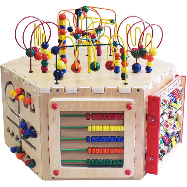 These great kids learning games are for cognitive development and you will find the pathfinder, alphabet blocks, an abacus, a gear toy, a magnetic circle express, a Ziggidy Zag Panel, and the famous bead maze game on top of the table. The Six-Sided Play Cube Activity Center is an excellent sensory play toy as it helps young children develop skills needed for school and learning in general.