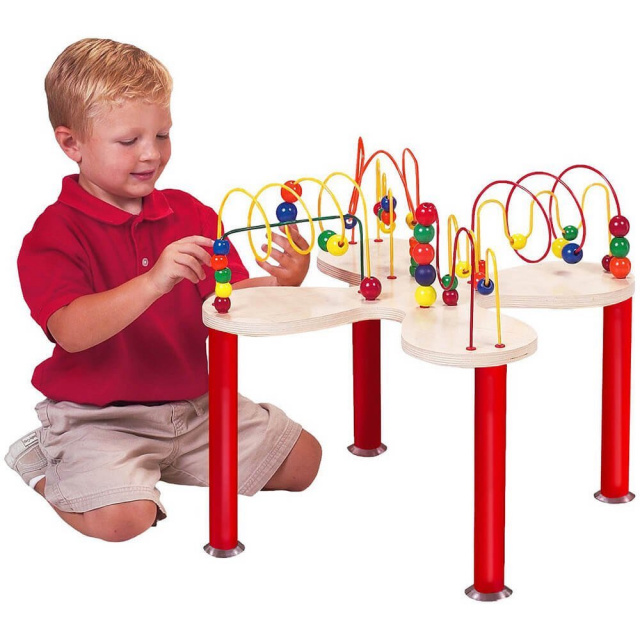 Through fun play, the Mini Curves 'N' Waves Table challenges and develops visual tracking skills, eye-hand coordination, and shape and color recognition.  Great compact size for the home, schools, waiting rooms, and play areas!