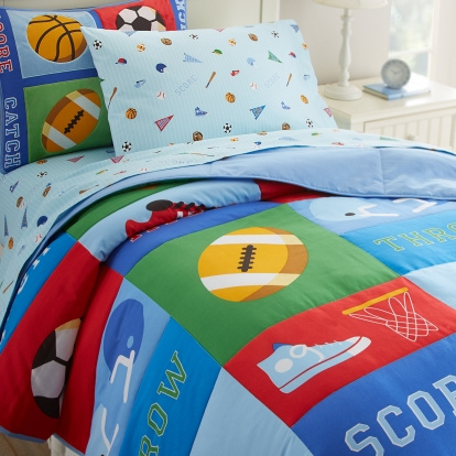 "This ""Sports Themed Design"" is a winner! Richly colored sports balls, sneakers, helmets, and varsity letters are displayed on the comforter! The ""Game On"" kids bedding sets show on every item the sports design pattern. Our Game On kids bedding is 100% ultra soft cotton percale. The reverse is solid blue. 100% ultra soft cotton percale has a 210 thread count. The sheets are covered with an assortment of sport equipment images."