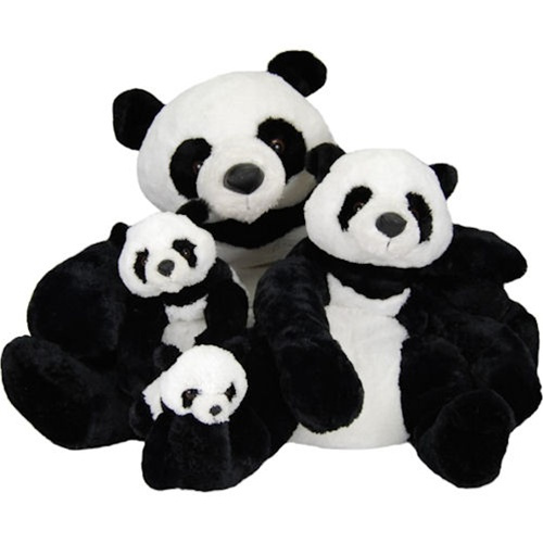 "Cute realistic looking Panda bears in black and white! Their sizes are: Mama Gansu 27"" -  Gansu 18"" -  Baby Gansu 12.5"" - Junior Gansu 9"" all with soft and shiny coats!"