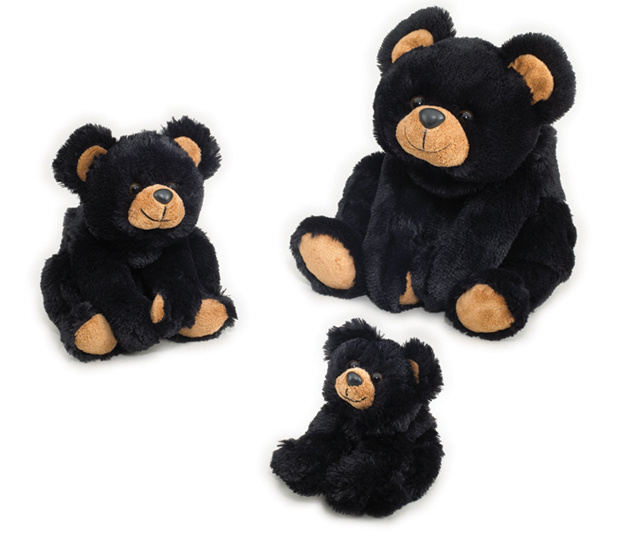 """These three bears would be lovely company for any child!   Mama Bear Smoky 18"""" -  Baby bear Smoky 12.5"""" - Baby bear Smoky Jr.9""""  These precious three bears are a delight and have a shiny plush fur coat and light brown accents on the paws, the ears, and their smiling muzzle! Kids will love to cuddle them and take them to bed!"""