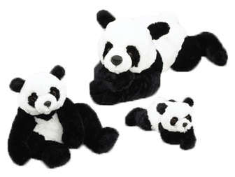 """They are black and white and are realistically looking like a Panda Bear! Sizes - Gansu - Panda 18"""" - Baby Gansu 12.5"""" - """"Gansu Jr. 9"""" and they all have a lovely soft, silky coat!"""