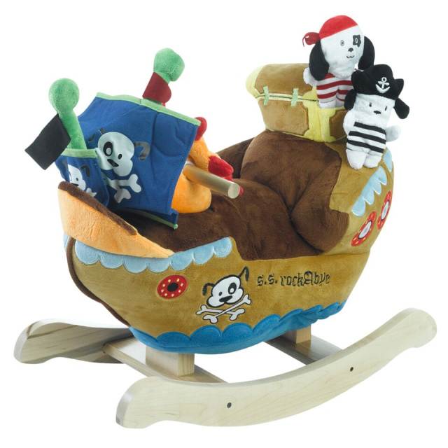 "They will also get to play four fun songs over and over again. Located on the ship's wheel, your little pirate will find 4 colored shapes that activate original songs that teach ABC's, learn to count the 123's, identify colors, shapes and more. • Dimensions: (24"" L) X (12"" W) X (17"" H)  •   Weight: 12 lbs. including the box  •  Cleaning Directions: sponge wipe - washable and easy to maintain  •  Age: Rockers are designed for children 9 months and older.  •  they accommodate children up to maximum 80 pounds only."