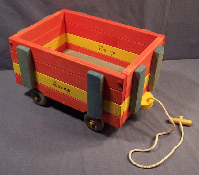 "A 4 tier high wooden wagon with the approximately size of 10-1/2"" wide, 20"" long, and 11"" high! The wagons are of solid wood and of a sturdy construction. The cord to pull the wagon is nylon cording.to last a long time!"